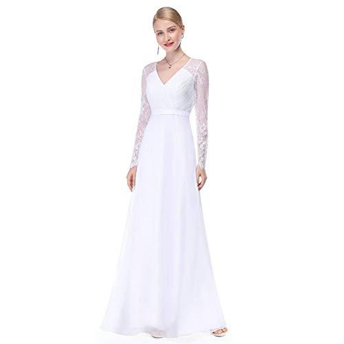 BINGQZ Vestido Fiesta Noche/Coctel/Casual Ilusión Manga Larga Vestidos de Novia Largo Encaje Cuello en V Sencillo Vestido de Novia de China Elegante trouwjurk Boda Matrimonio