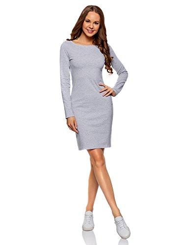 oodji Ultra Mujer Vestido de Punto Ajustado, Gris, ES 34 / XXS