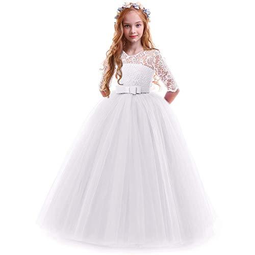 IWEMEK Vestidos de Princesa Fiesta de la Boda de Las Niñas 3/4 Largo Manga Tul Vestidos de Dama De Honor Fiesta Graduación Comunión Cumpleaños Paseo Baile Cóctel Vestido de Novia 13-14 Años