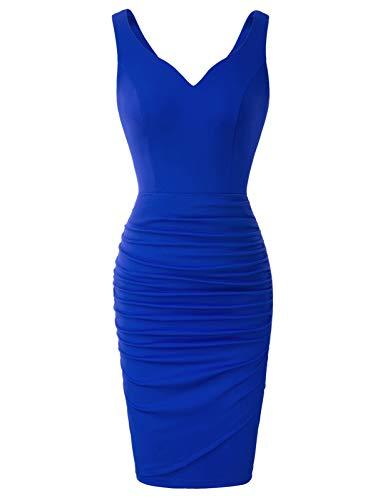 Vestido Vintage Sin Mangas de Fiesta con Cuello V de Estilo Cóctel para Mujer 2XL Azul CLS02497-3