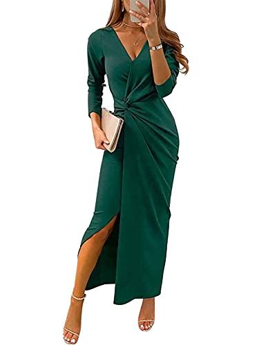 Vestido ceñido al cuerpo para mujer, vestidos elegantes con cuello en V y abertura, vestido largo para fiesta de cóctel, vestido largo para mujer, vestidos formales para graduación (Verde , XX-Large )