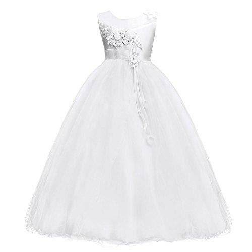 Princesa Vestido de Niña de Flores para la Boda Vestidos de Dama De Honor Tul Sin Mangas Largo Fiesta Comunión Cumpleaños Bola Pageant Paseo Baile Cóctel Vestir Blanco 10-11 Años
