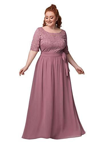 Ever-Pretty Talla Grande Vestido para Invitada de Boda Encaje A-línea Imperio Escote Redondo Largo para Mujer Orquídea 50