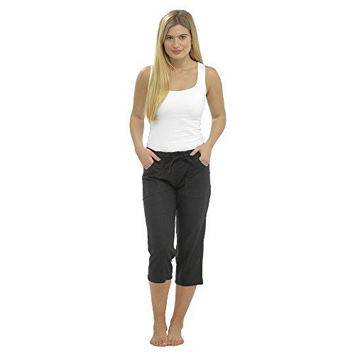 CityComfort Ladies Lino Pantalones Casual Holiday Elasticated Waist Womens Summer Pantalones Pantalones Cortos recortados con Bolsillos (24, Negro Recortada 3/4)