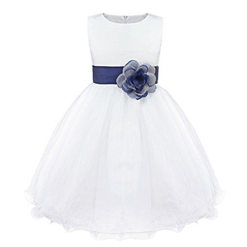 Freebily Vestido Elegante Blanco Boda Fiesta para Niña (2 a 14 Años) Vestido de Princesa para Dama de Honor Azul Oscuro 10 años