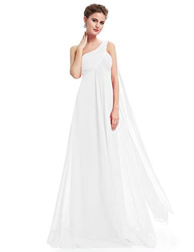 Ever-Pretty Vestido de Gala Gasa Un Hombro Corte Imperio Plisado sin Mangas para Mujer Blanco 38