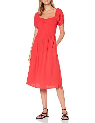 Superdry Kala Smocked Midi Dress Vestido, Rojo (Hibiscus Qnf), L (Talla del Fabricante:14) para Mujer