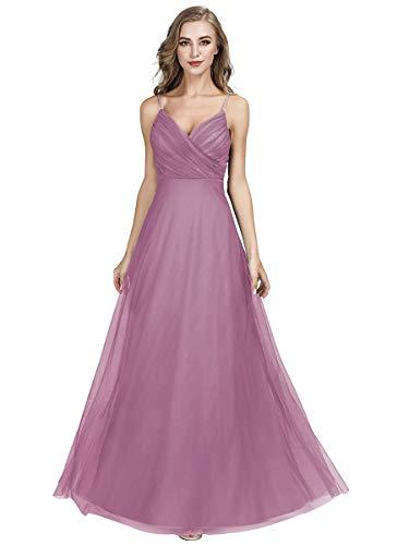 Ever-Pretty A-línea Vestido de Noche Tul Cuello en V sin Respaldo para Mujer Dama de Honor Orquídea 40