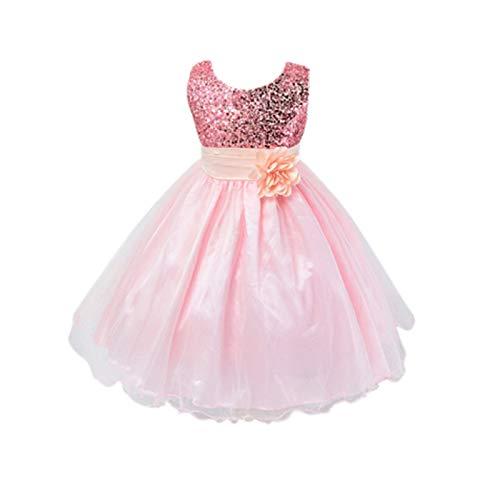 Live it estilo it ni̱a con lentejuelas vestido flor princesa sin mangas formal boda fiesta dama Rosa rosa pastel 2-3 A̱os