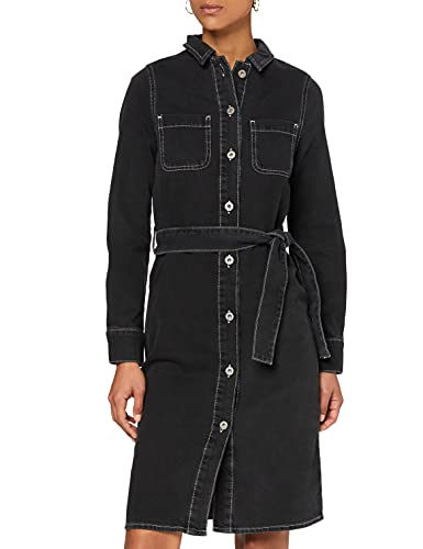 Marca Amazon - find. Vestido Vaquero Midi Camisero Mujer, Negro (WASHED BLACK), 46, Label: XXL