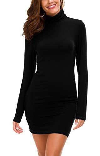 Vestido Ajustado de Manga Larga para Mujer Vestido Elegante de Cuello Alto con Cuello Alto (S, Negro)