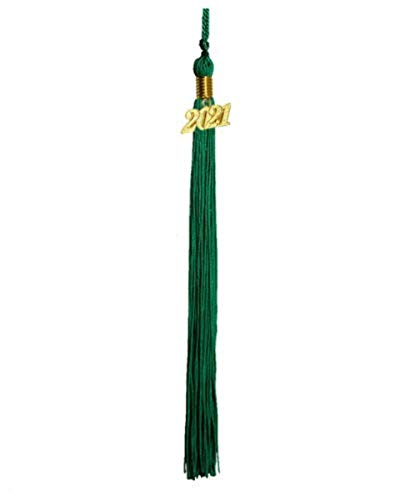 LTGB Bachelor Cap de graduación Borla Colgante 2021 año Encanto 9'Ropa de Vestir Colgando (Emerald Green 2021)