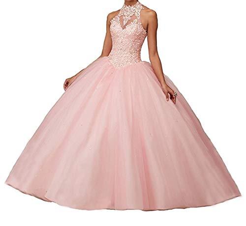 XUYUDITA Vestidos de Noche Quinceanera de Vestido de Baile Abierto de la Pelota de Mujer con Encaje de Perlas Vestidos de Noche Rosa-40