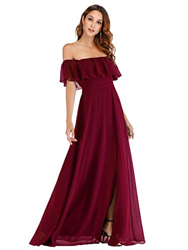 Ever-Pretty A-línea Vestido de Noche Verano para Mujer Borgoña 36