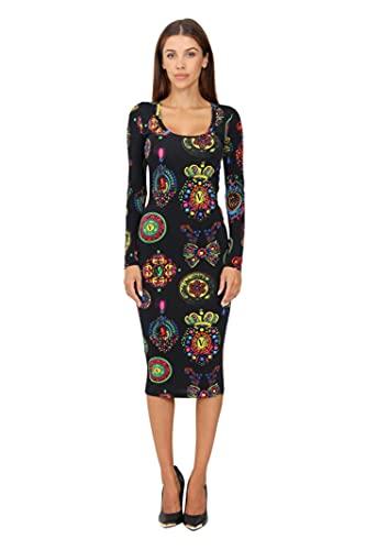 VERSACE JEANS COUTURE 71HAQO920 - Vestido negro con impresión bijoux Baroque multicolor, multicolor, 36