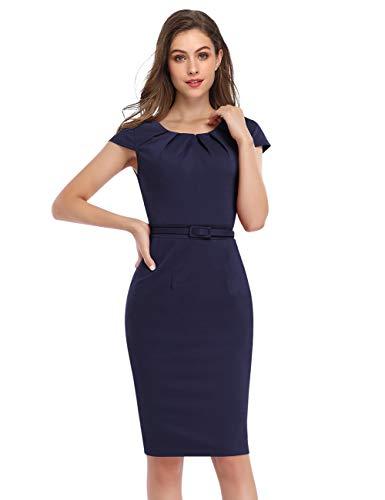 KOJOOIN Vestido de Tubo para Mujer de Negocios Bodycon hasta la Rodilla Vestidos de Manga Corta Vestido de cóctel Festivo con cinturón Azul Oscuro-5 Mangas Cortas XL