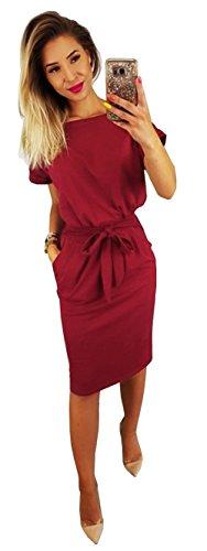 Longwu Vestido de Manga Corta Elegante de Las Mujeres para Trabajar el Vestido Ocasional del lápiz con la Correa Vino Rojo-L