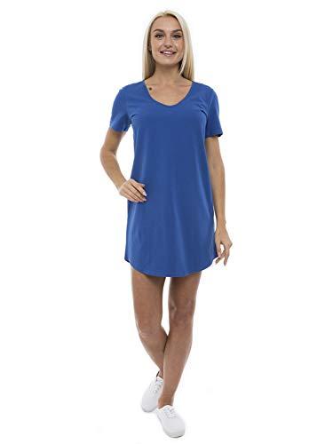 ABAKUHAUS Vestido Casual de Mujer Holgado Escote en V, S, Azul Marino