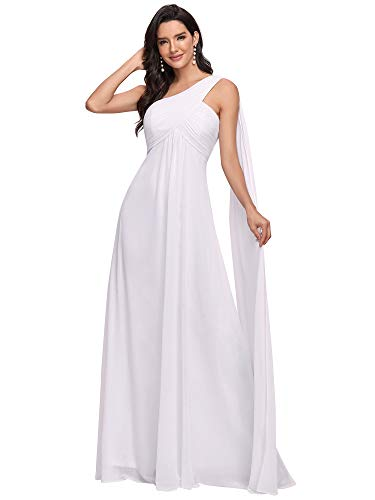 Ever-Pretty Vestido de Novia Gasa Un Hombro Corte Imperio Plisado sin Mangas para Mujer Blanco 38