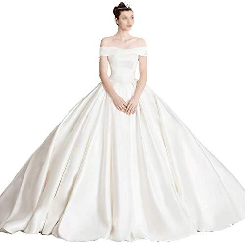 CAIM-Vestidos Boda Retro sin Tirantes Plisado Vestido de Novia Largo Satinado Vestido de Princesa Falda Fiesta Trompeta Imperio Cintura Vestido de Noche Largo (Color : White, tamaño : S)