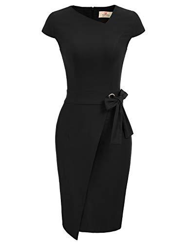 Mujer Vestido Lápiz de Oficina Elegante Mangas Cortas Ajustado XL CL010867-1