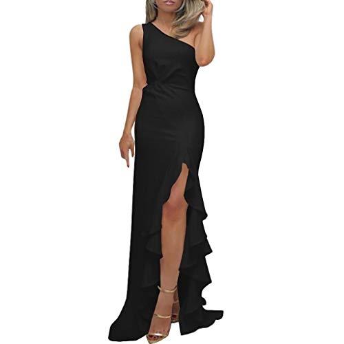 SHOBDW Vestidos Mujer Día De San Valentín Presente SóLido Un Hombro Vestido De Fiesta De Noche Formal Elegante con Pliegues Altos con Volantes De Hendidura Elegante Maxi Vestidos Largos(Negro,S)