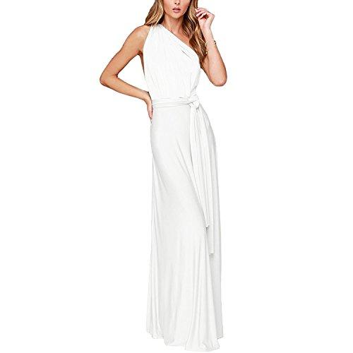 Vestido de Fiesta de Mujer de Dama de Honor Transformer/Infinity Sin Mangas Maxi Largo Vestidos de Cóctel Piso-Longitud Multi-Way Dresses Blanco M