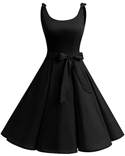 Bbonlinedress Vestidos de 1950 Estampado Vintage Retro Cóctel Rockabilly con Lazo Black M