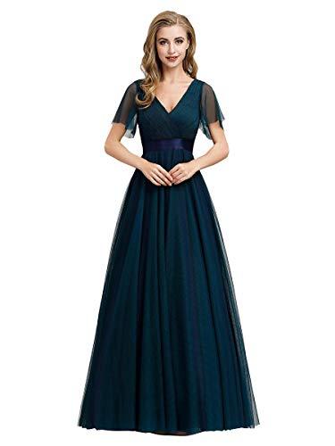 Ever-Pretty A-línea Tul Vestido de Noche Manga Corta Cuello en V Largo para Mujer Azul Marino 50