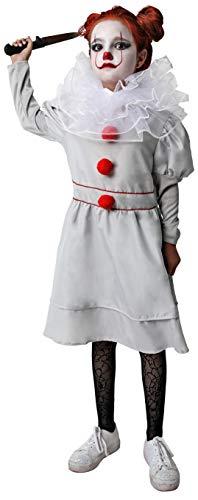 Gojoy Shop- Disfraz de Payaso Asesino para Niñas Halloween (Contiene Vestido, Cuello y Puñal Retractil, , 4 Tallas Diferentes) (7-9 AÑOS)