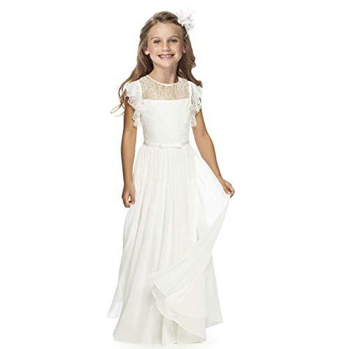 TYHTYM Vestido de niña de las flores desfile de la boda vestidos de encaje vestido de bola vestido de fiesta de la muchacha de baile vestido de fiesta de mangas flauta blanco, blanco crema, 12-13 Años