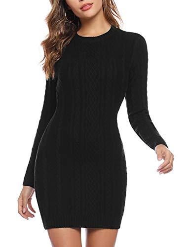 Akalnny Vestidos de Mujer Corto Ajustado de Punto Suéter de O-Cuello Vestido de Manga Larga Otoño Invierno Mini Vestidos Negro