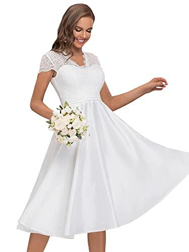 Ever-Pretty Vestido de Novia A-línea Largo para Mujer Encaje Mangas Casquillo Escote en V Corte Imperio Sencillo Blanco 42