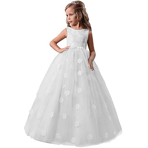 TTYAOVO Chicas Princesa Flor Vestir Hinchado Danza Pelota Tul Vestidos 9-10 años(Talla150) 363 Blanco