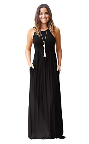 Hmeng - Vestido largo sin mangas y con bolsillos para mujer. Vestido de fiesta largo, estampado liso negro negro M