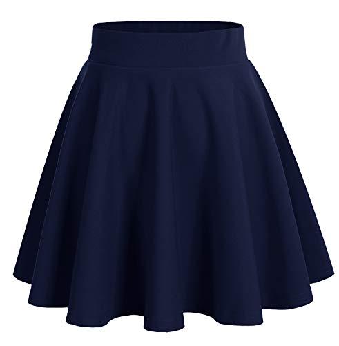 DRESSTELLS Falda Mujer Mini Corto Elástica Plisada Básica Multifuncional Navy L
