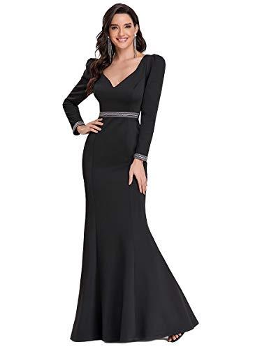 Ever-Pretty Vestido de Noche Sirena Manga Larga Largo para Mujer Escote Corazón Corte Imperio Elástico Negro 48