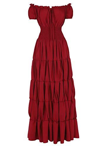 renacentista Vestido Medieval Mujer Vintage Victoriano gotico Manga Larga de Llamarada Disfraz Princesa Rojo s