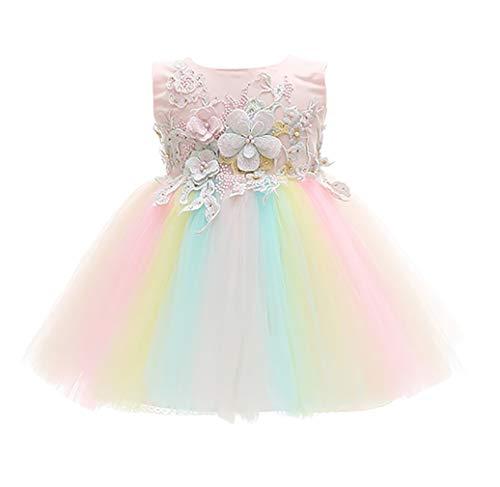 KRUIHAN Niñita Bautismo Cumpleaños Bata Niños Luna Llena Dama de Honor Arco Iris Princesa Tutu De Encaje Pascua de Resurrección Fiesta Nocturna Vestido de Novia 12M(12-15Mes)