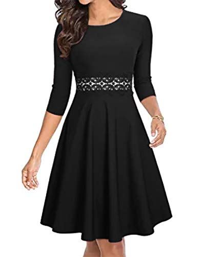 ZANZEA Vestido de Fiesta Mujer Manga Larga Tallas Grandes Elegant Vestido de Cóctel de Noche Cortos W1-Negro S