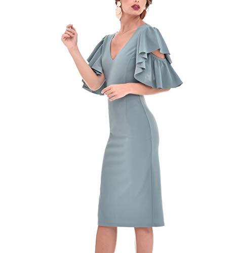 TONALA | Vestido Mujer Fiesta Boda Evento Elegante Midi Liso Entallado Manga Corta | Vestido de Fiesta Mujer Elegante | Vestidos Cortos Elegantes Mujer Fiesta | Vestido para Boda Midi (Azul Gris, l)