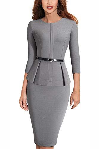 HOMEYEE Negocio Vestido de Mujer Cuello Redondo Peplo Cinturón B473 (EU 38 = Size M, Gris)