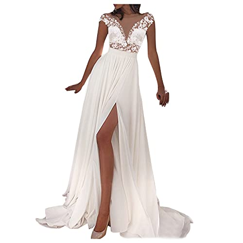 VEMOW Vestido de Novia Dividido de Encaje Sexy para Mujer, Vestido de Noche Playero Mujer Casual Vestidos Largos Casual Floral Maxi Vestido Bohemio Tirantes Playa Verano Tallas Grandes(A Blanco,M)