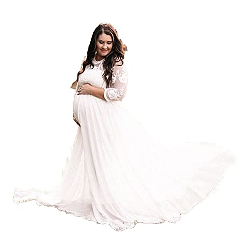 Yajun Vestidos de Fotografía de Maternidad de Encaje Maxi Ropa Elegante Mujer Larga Ropa de Embarazo para Baby Shower Faldas de Talla Grande,White,XL(Bust:101cm)