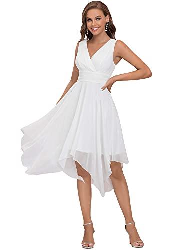 Ever-Pretty Vestido de Fiesta Midi para Mujer Escote en V sin Mangas Asimétrico Gasa Plisado Blanco 42