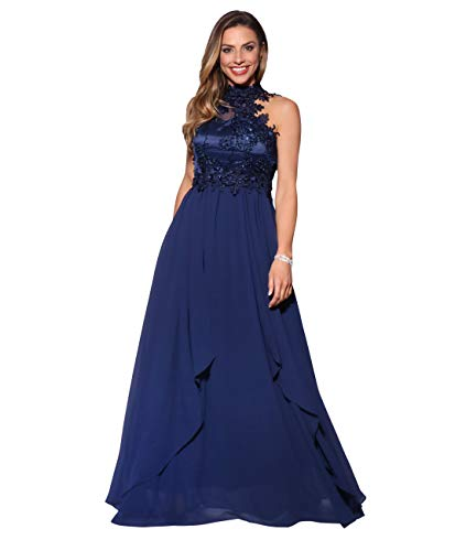 KRISP Vestido Fiesta Largo Dama de Honor Corte Imperio Invitada Boda Tallas Grandes Elegante Madrina Ceremonia, (Azul Marino (4812), 40 EU (12 UK)), 4812-NVY-12