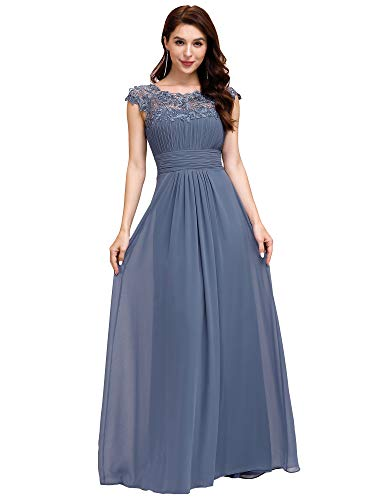 Ever-Pretty Vestido de Noche Encaje Largo para Mujer A-línea Gasa Escote Redondo Corte Imperio Elegantes Armada Polvorienta 42