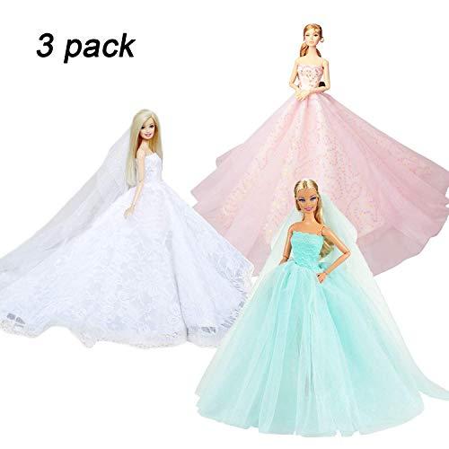 Abree 3 Pack Vestido Elegante Hecho a Mano Ropa de Princesa Fashionista Falda Traje de Ropa Fiesta Boda para Muñeca Regalo Cumpleaños para Niña (WBP)