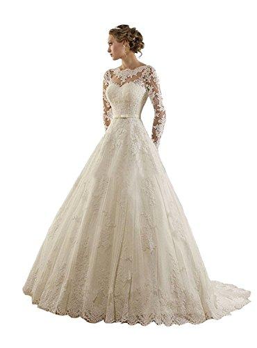 Vestido de novia de manga larga, con encaje y joyas de Lydiags Marfil Marfil 48