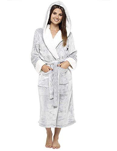 CityComfort Vestido de las señoras traje súper suave con forro de piel albornoz felpa albornoz para mujeres (M, gris)